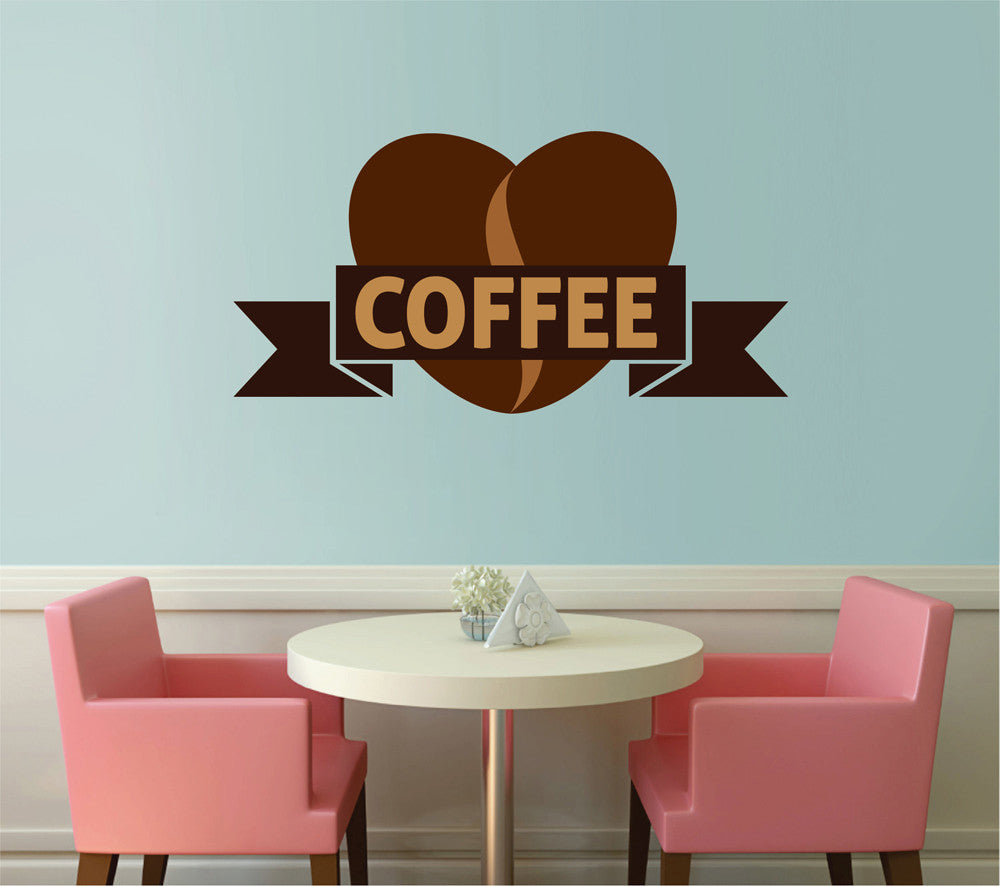 cik1030 Full Color Wall decal Coffee letter heart shop snack restaurant