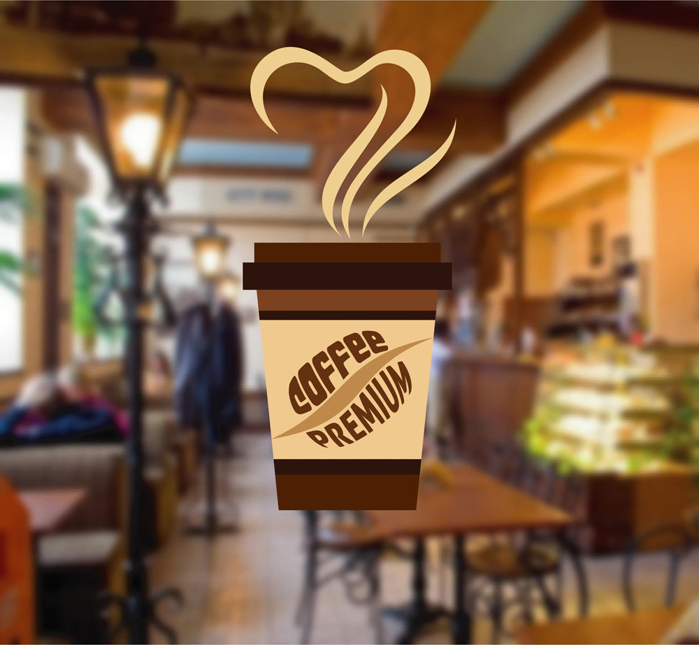 cik1034 Full Color Wall decal premium cup coffee shop Snacks Restaurants