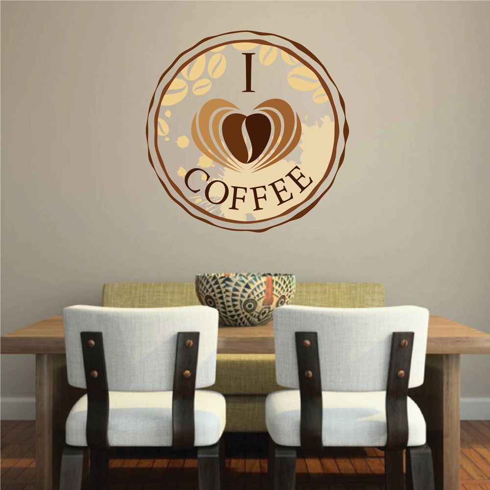cik1036 Full Color Wall decal I love coffee shop restaurant showcase window