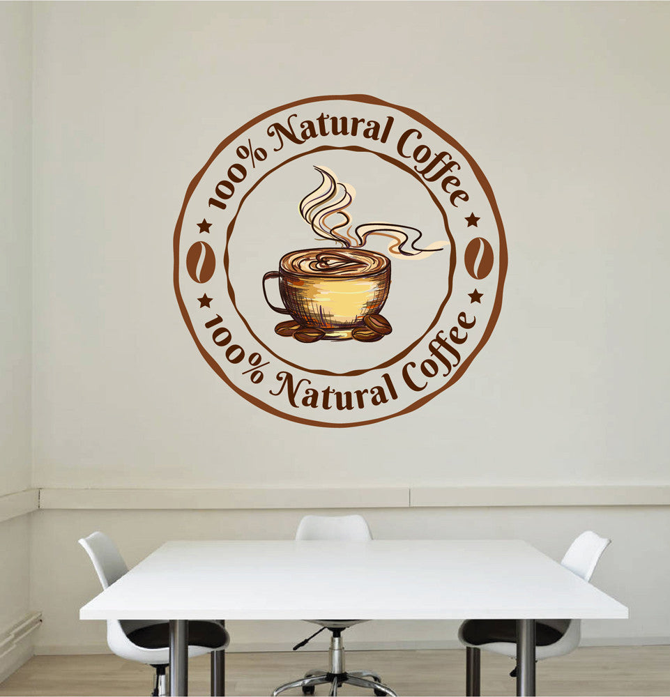 cik1037 Full Color Wall decal natural coffee cup grain store restaurant shop front window