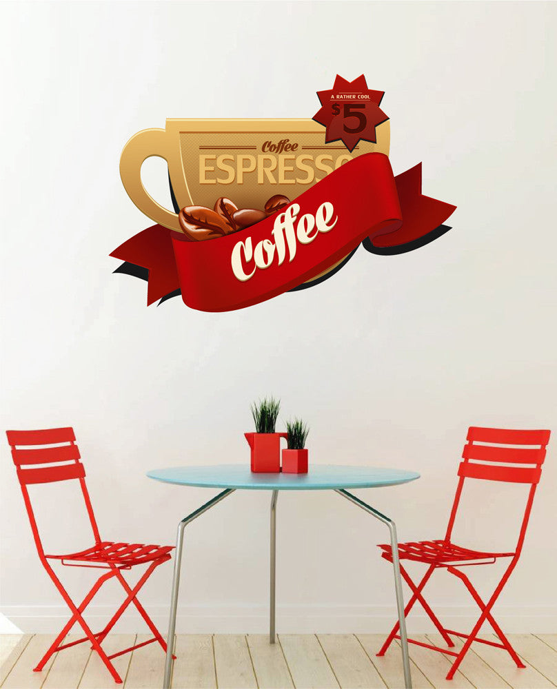cik1042 Full Color Wall decal cup espresso coffee shop restaurant showcase window