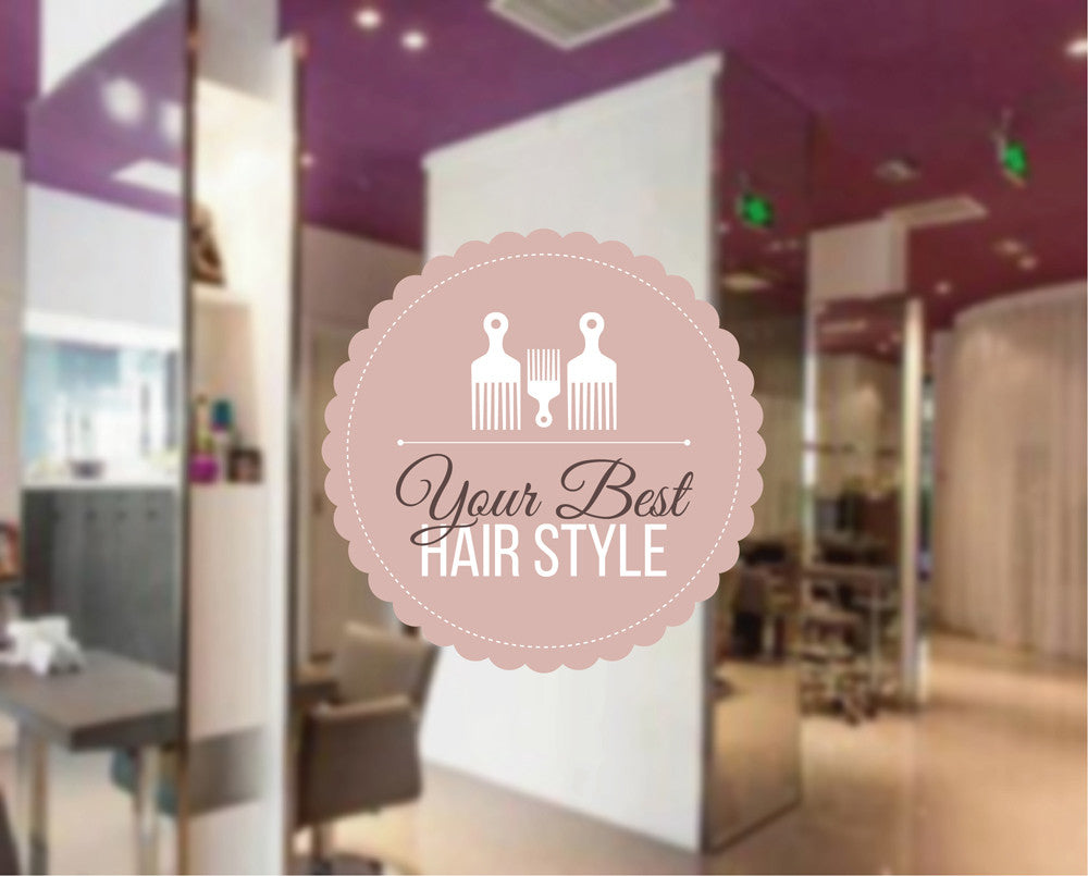 cik1045 Full Color Wall decal best hair style hairdressing salon