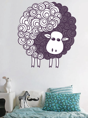 cik104 Full Color Wall decal sheep animal funny children's bedroom living room