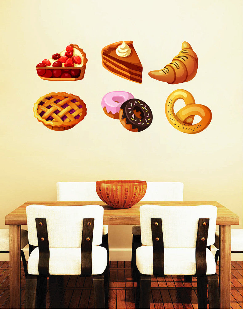 cik1051 Full Color Wall decal sweet cakes donuts food snack restaurant bakery