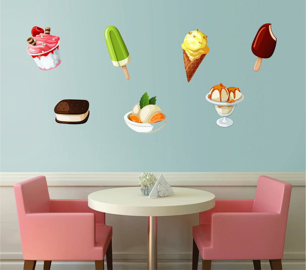 cik1052 Full Color Wall decal sweet ice cream snack food restaurant