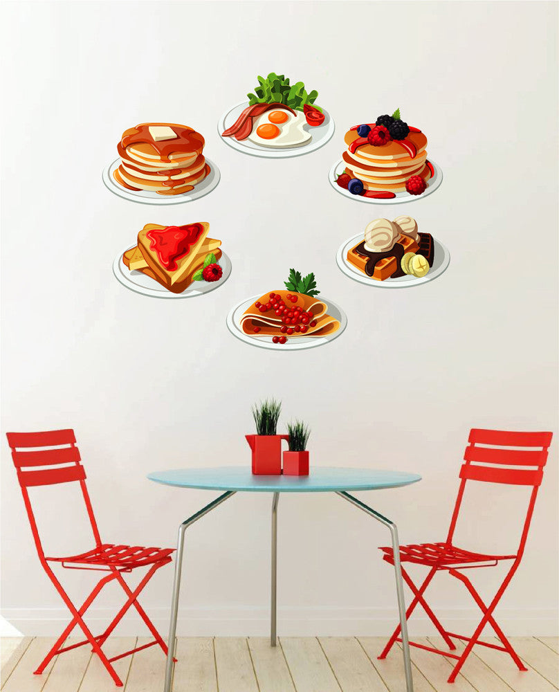 cik1056 Full Color Wall decal pancakes sweet dessert snack fried food restaurant