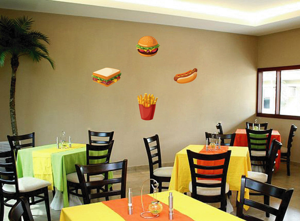 cik1057 Full Color Wall decal fast food hamburger hot dog potato snack cafe
