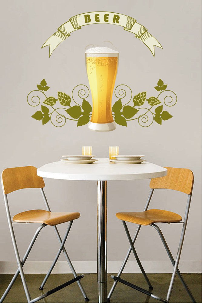 cik1059 Full Color Wall decal drink glass restaurant snack