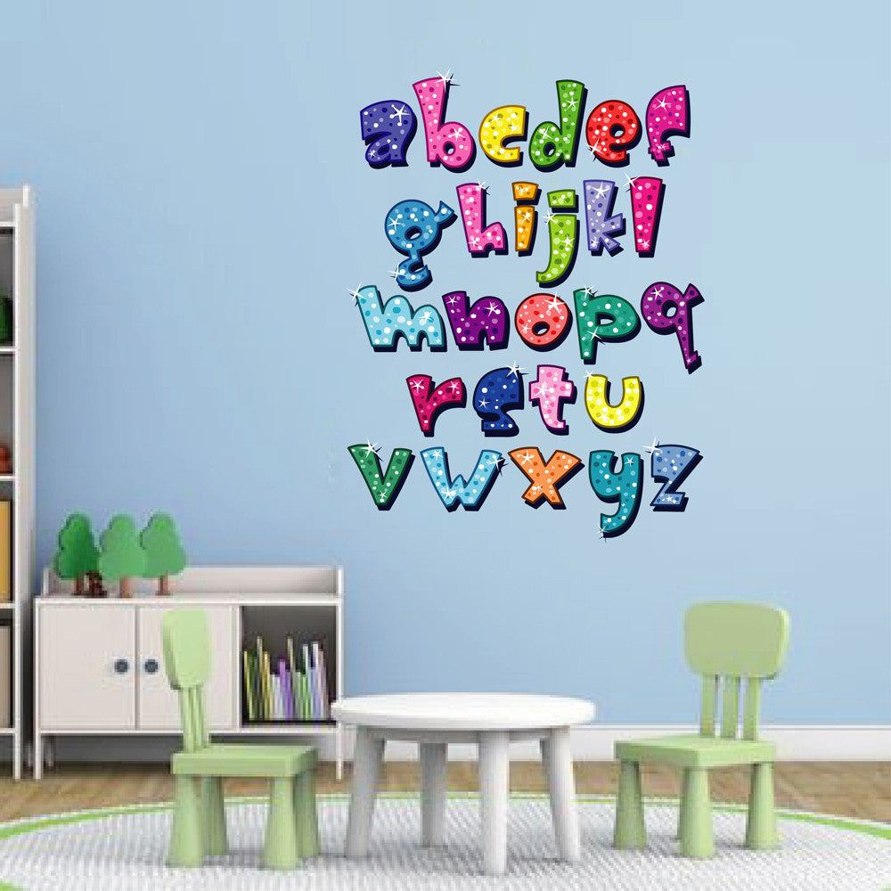 cik105 Full Color Wall decal Alphabet colorful living room children's bedroom