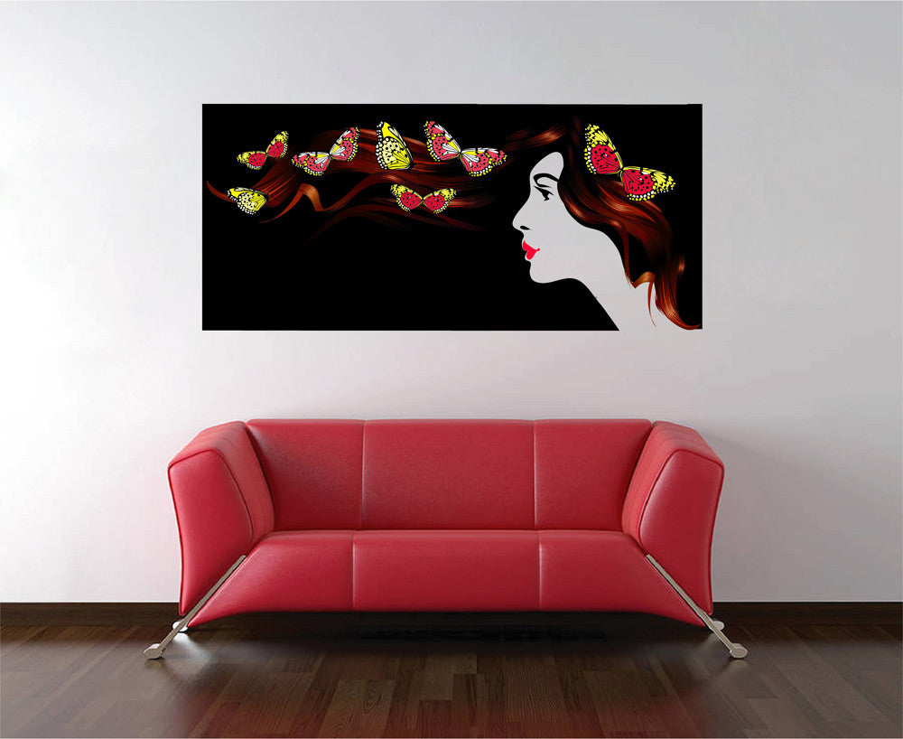 cik1066 Full Color Wall decal woman hair butterfly spa salon hairdresser