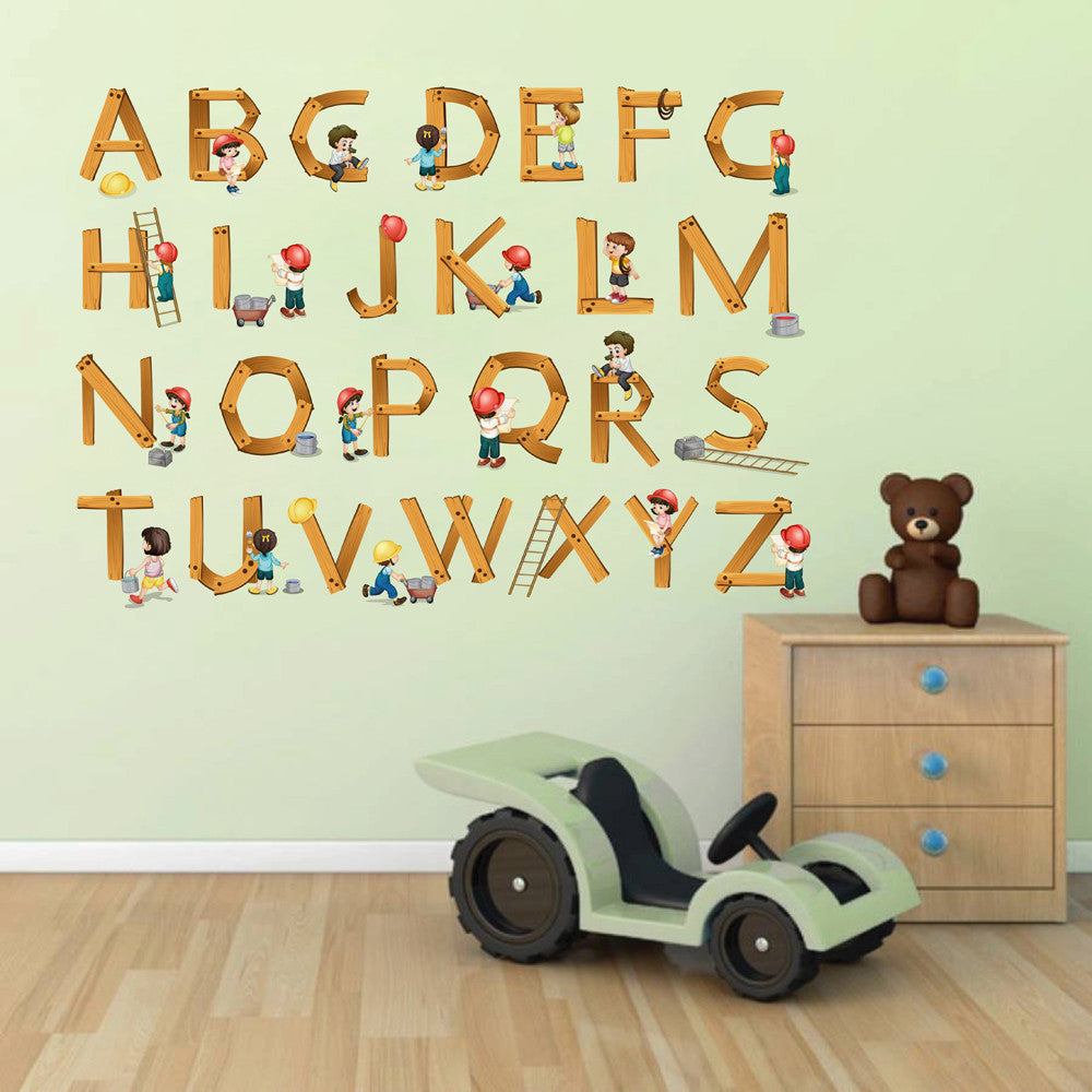 cik106 Full Color Wall decal Alphabet builders wooden living room children's bedroom