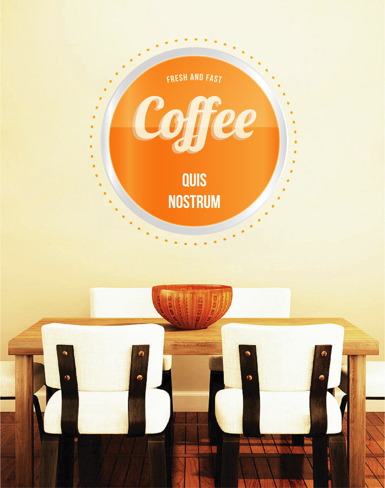 cik1072 Full Color Wall decal Fresh coffee drinks quickly coffeehouse cafe window Showcases