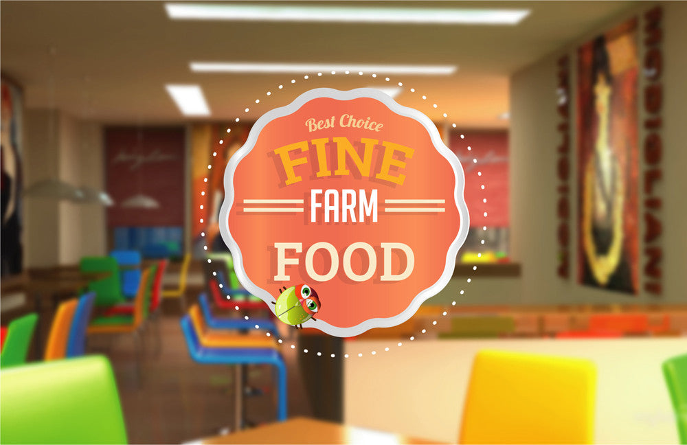 cik1077 Full Color Wall decal Funny Farm eco organic food restaurant window Showcases