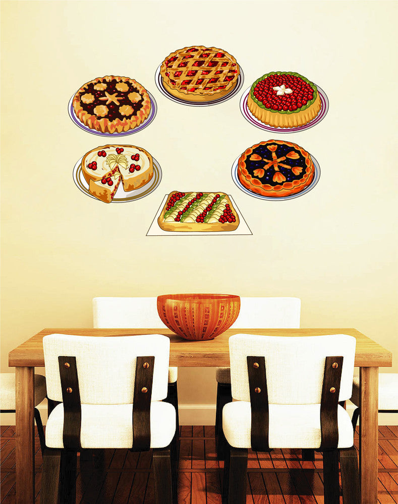cik1080 Full Color Wall decal Pies baked bakery cuisine restaurant snack