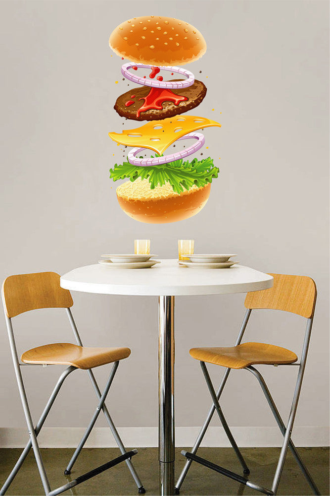 cik1082 Full Color Wall decal fast food hamburger restaurant snack disassemble kitchen