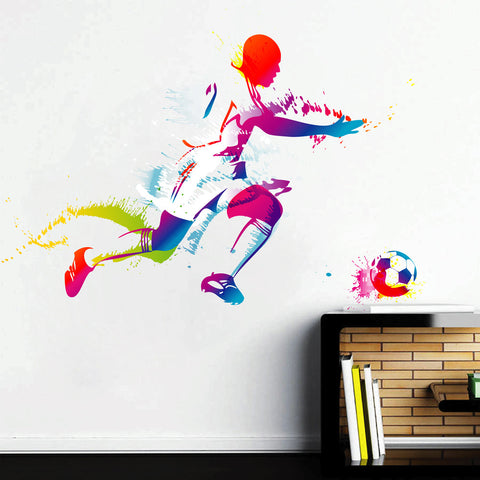 cik108 Full Color Wall decal soccer football ball sport spray paint room Bedroom sports hall