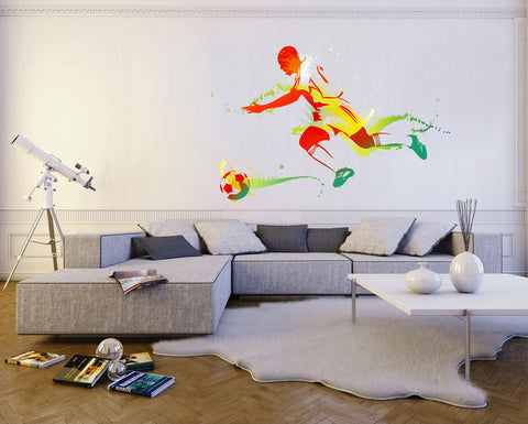 cik109 Full Color Wall decal soccer football ball sport spray paint room Bedroom sports hall