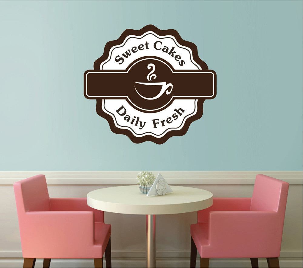 cik1101 Full Color Wall decal sweets coffee tea cakes showcase window bakery snack