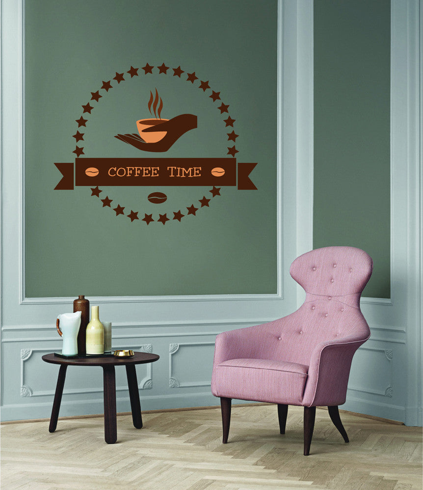 cik1104 Full Color Wall decal coffee time cup showcase snack shop window
