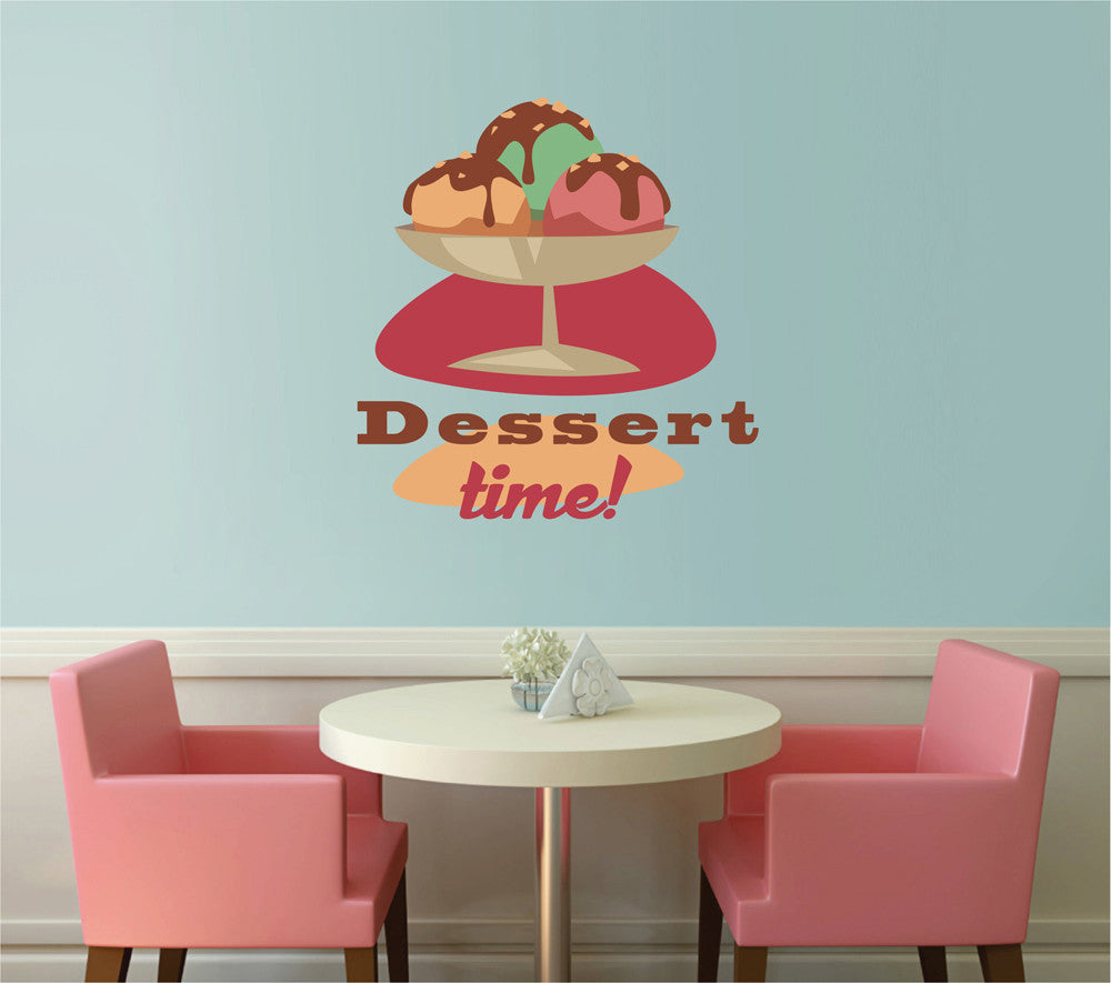 cik1109 Full Color Wall decal Vintage time dessert ice cream window showcase restaurant