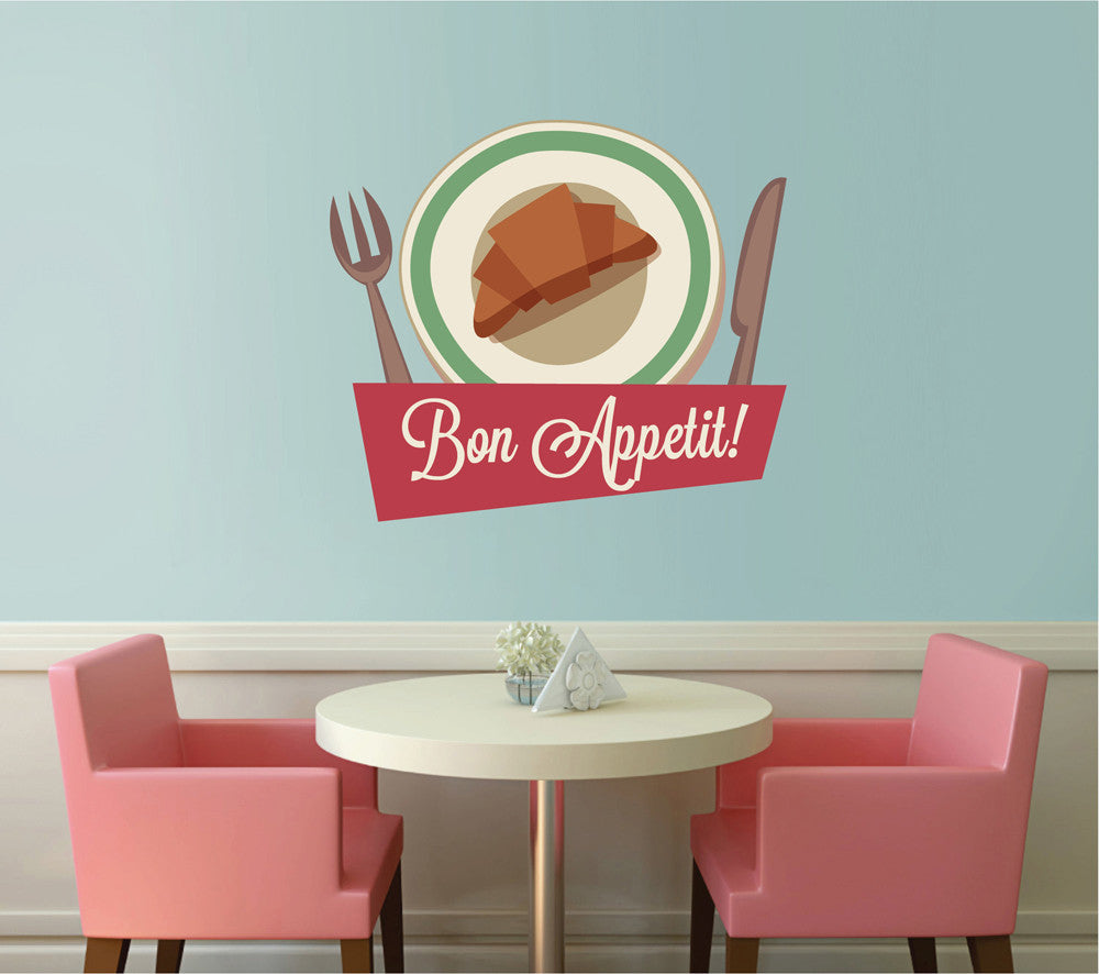 cik1110 Full Color Wall decal vintage saucer dish food bon appetit snack restaurant