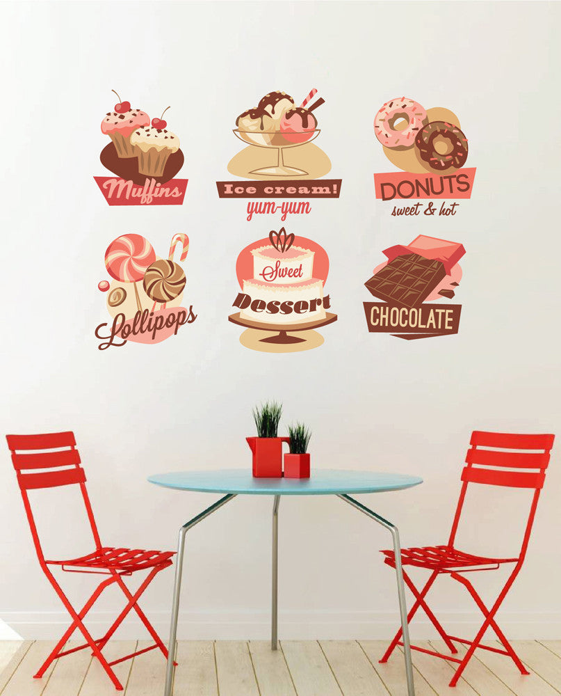 cik1114 Full Color Wall decal Vintage candy confectionery  showcase snack restaurant