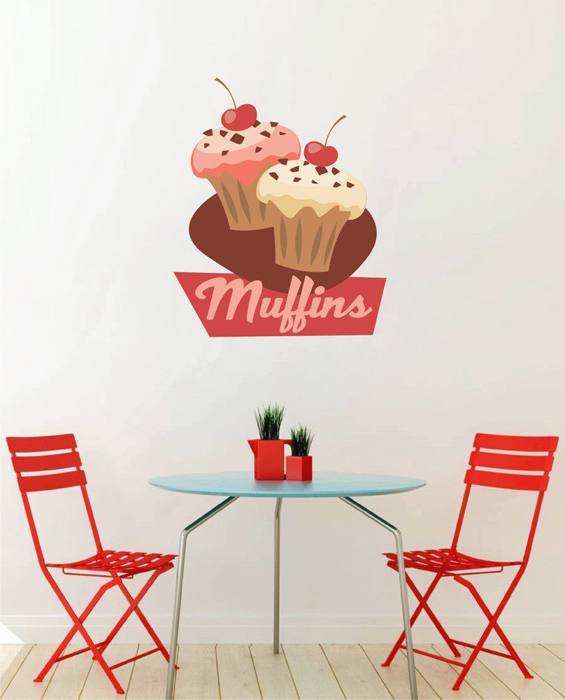 cik1115 Full Color Wall decal Vintage sweet pastry muffins snack restaurant shop window