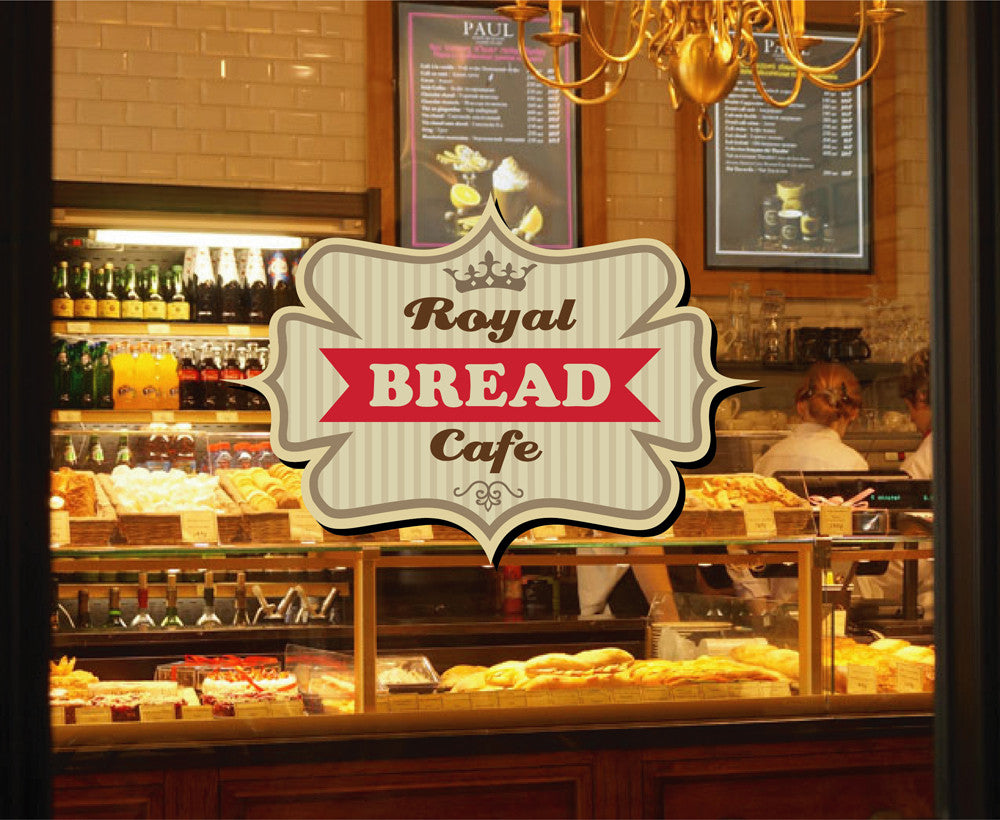 cik1125 Full Color Wall decal Royal bread food bakery cafe