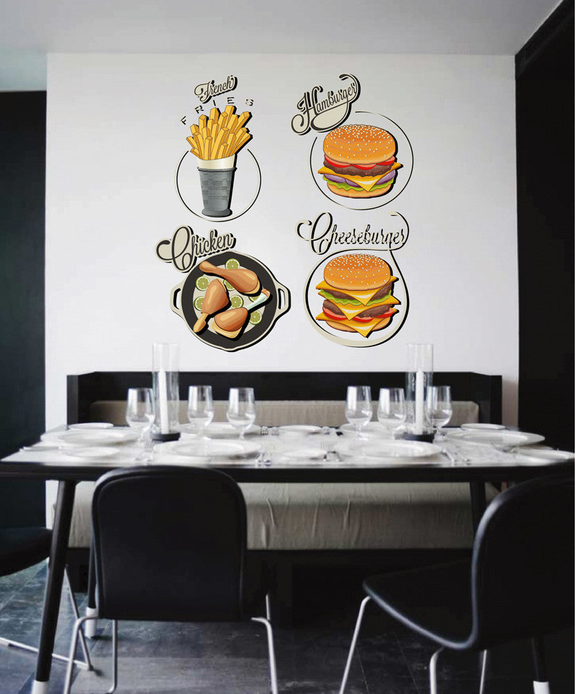 cik1131 Full Color Wall decal Potato burger cheeseburger diner fast food restaurant