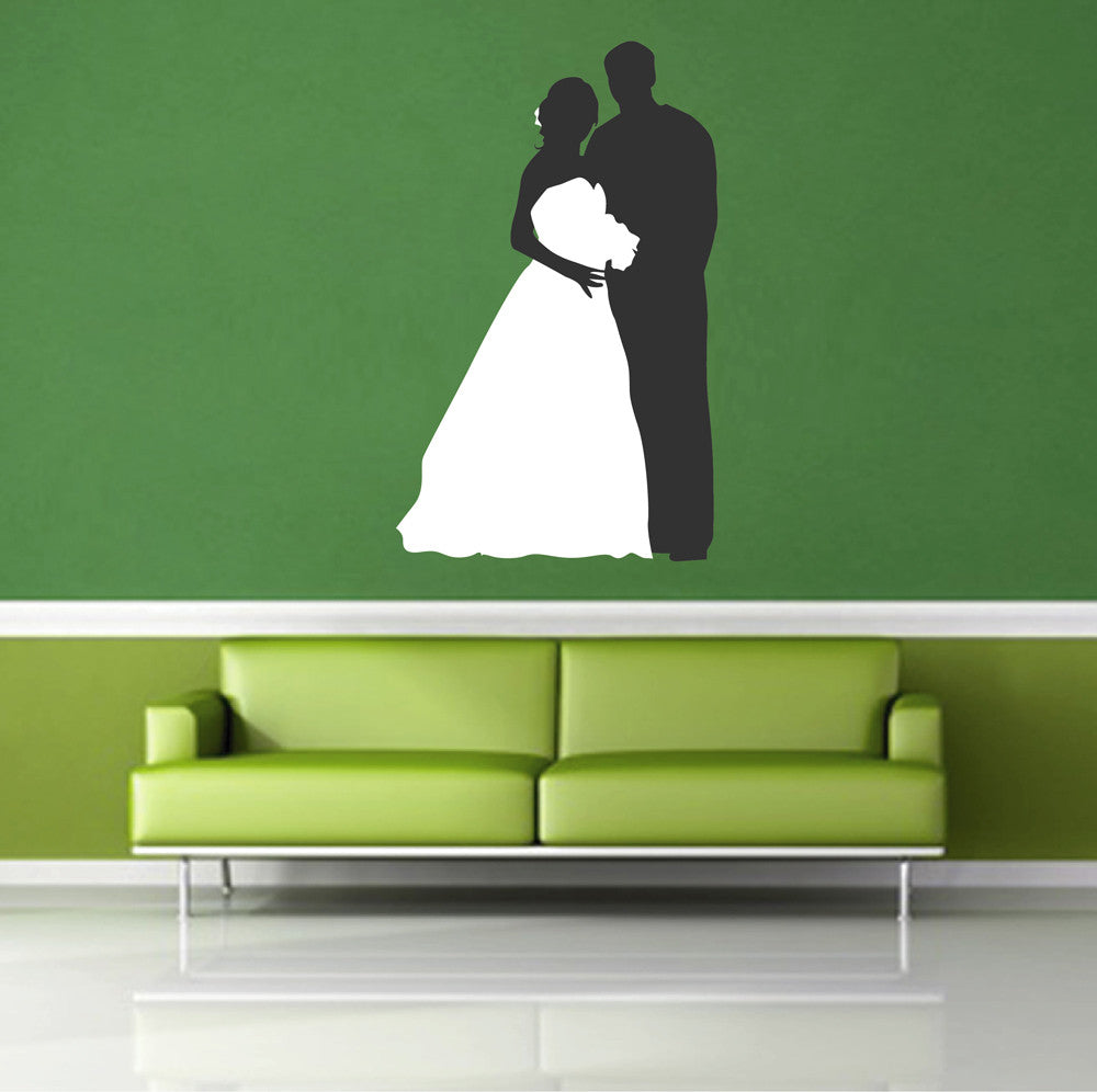 cik1135 Full Color Wall decal bride groom wedding dress bridal shop
