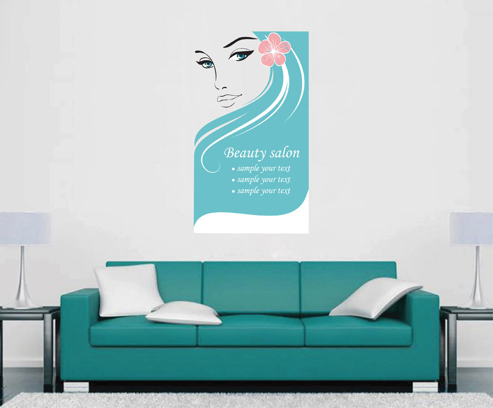 cik1143 Full Color Wall decal Makeup beautiful girl face beauty salon