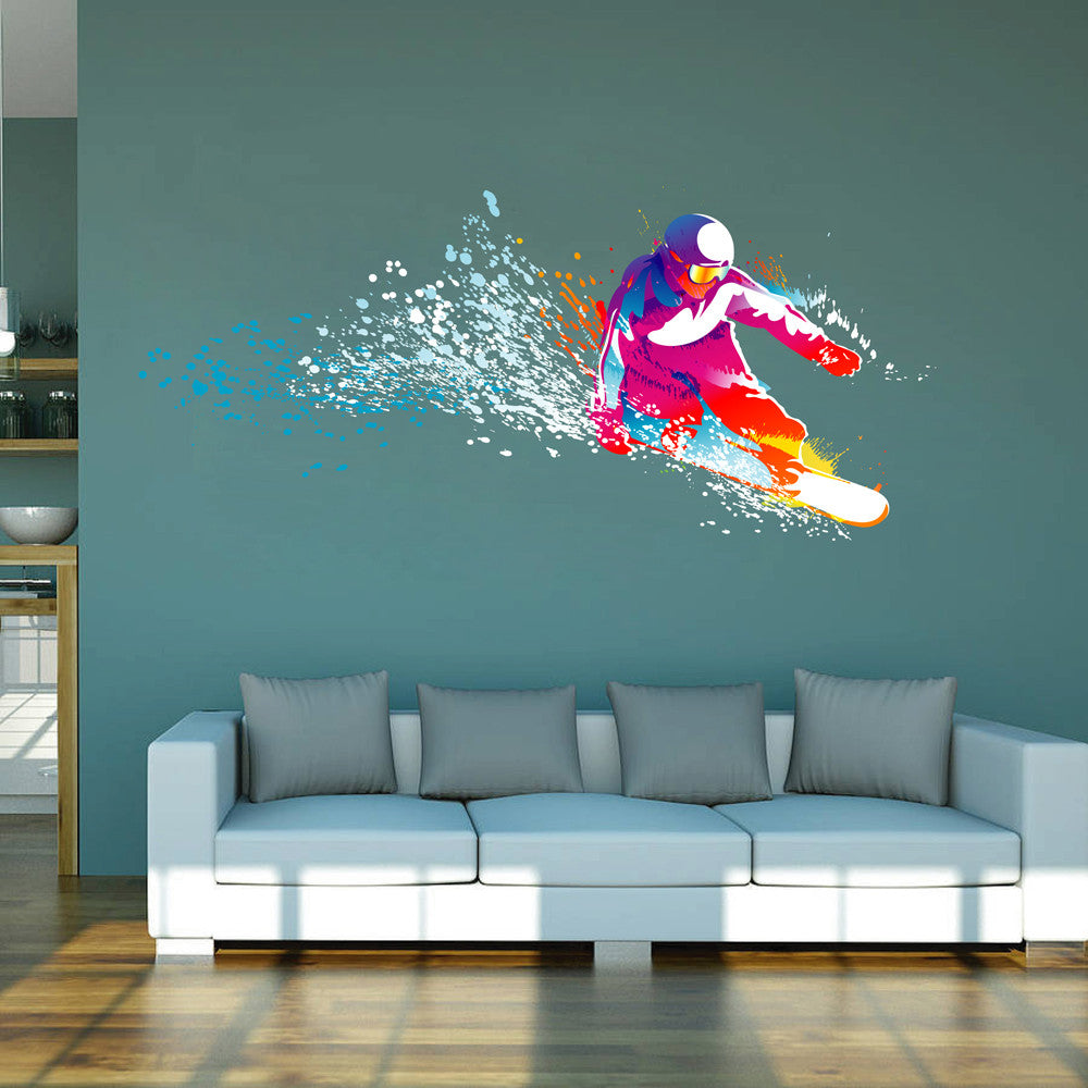 cik114 Full Color Wall decal snowboarding snowboarder snow sport spray paint room Bedroom