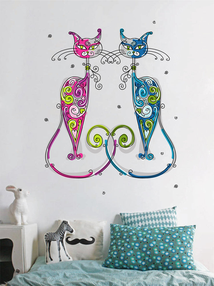 cik1151 Full Color Wall decal cats abstract bright living room children's bedroom