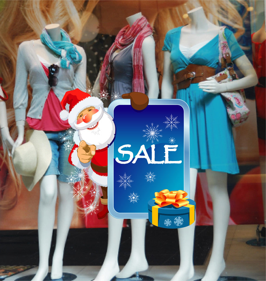 cik1155 Full Color Wall decal Santa Claus Christmas sale storefront window of the shop