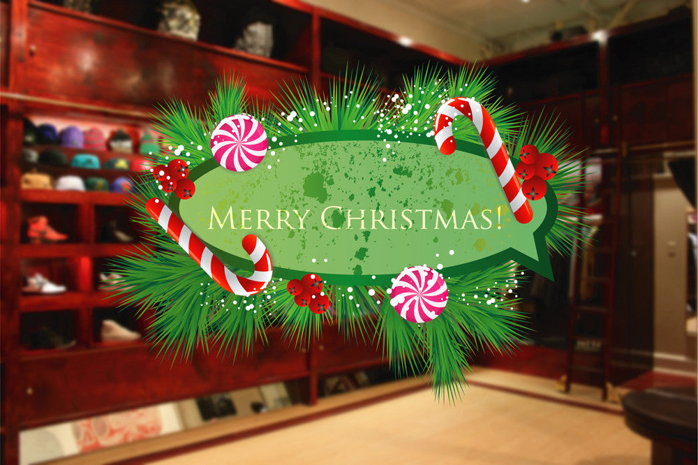 cik1166 Full Color Wall decal Merry Christmas wishes storefront window shop