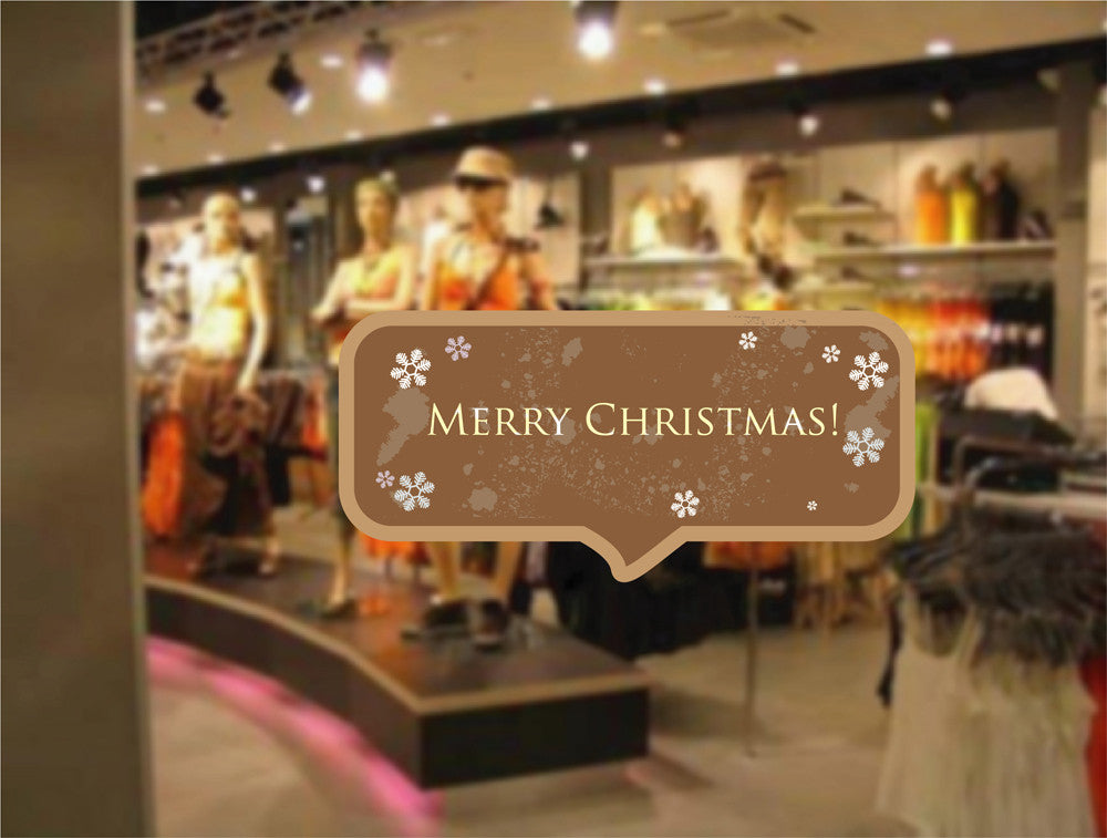cik1167 Full Color Wall decal Merry Christmas wishes storefront window shop