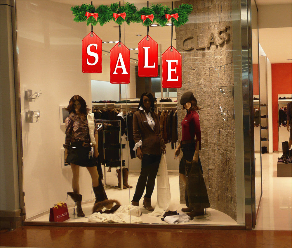 cik1168 Full Color Wall decal Christmas holiday selling storefront window shop