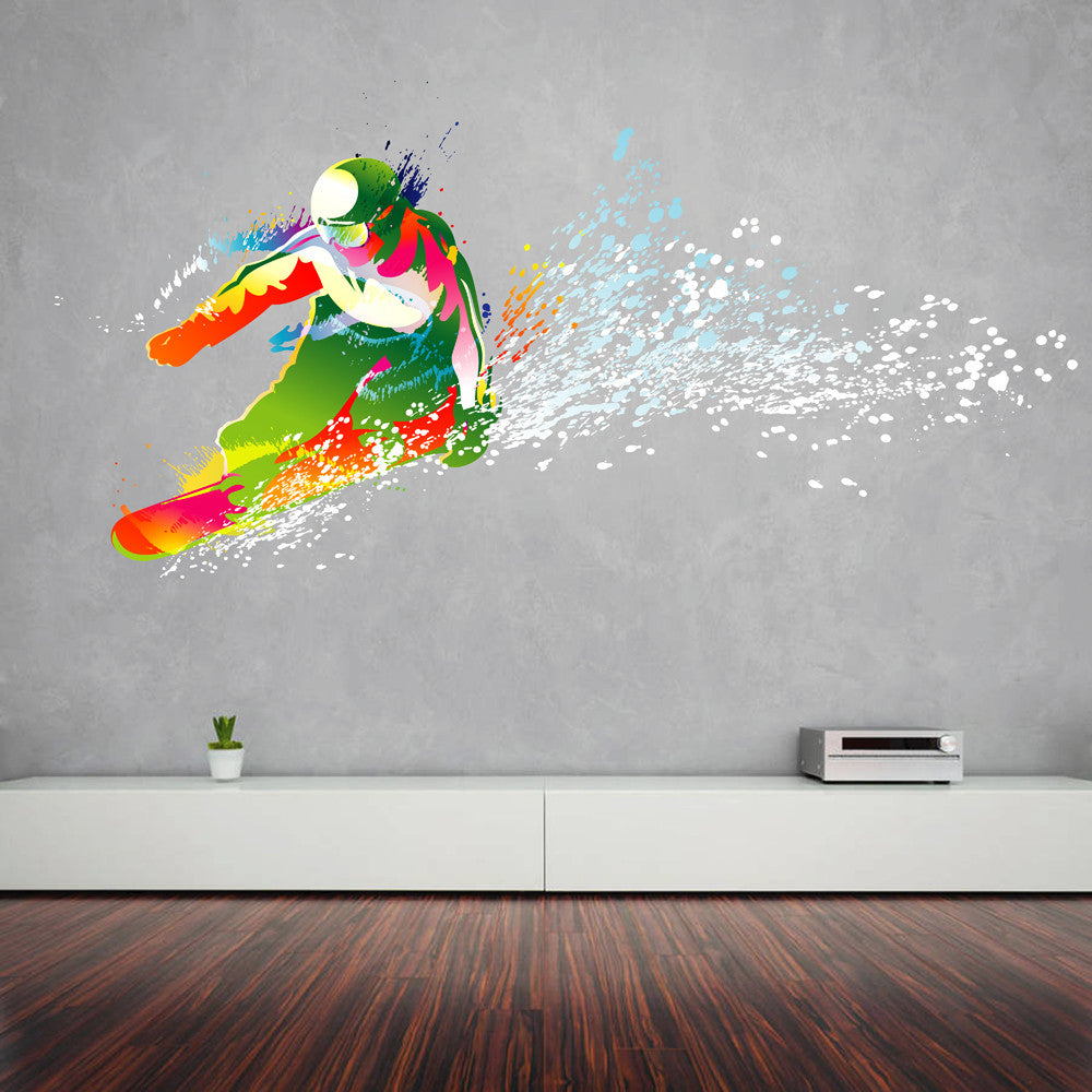 cik116 Full Color Wall decal snowboarding snowboarder snow sport spray paint room Bedroom