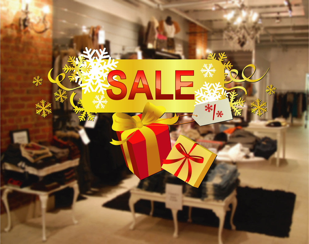 cik1170 Full Color Wall decal Christmas holiday selling storefront window shop
