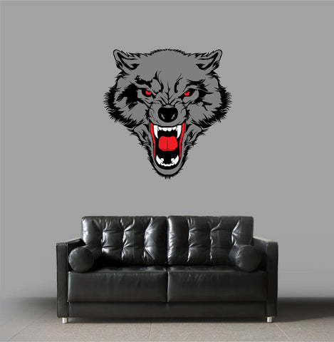 cik1175 Full Color Wall decal grin wolf animal living room bedroom