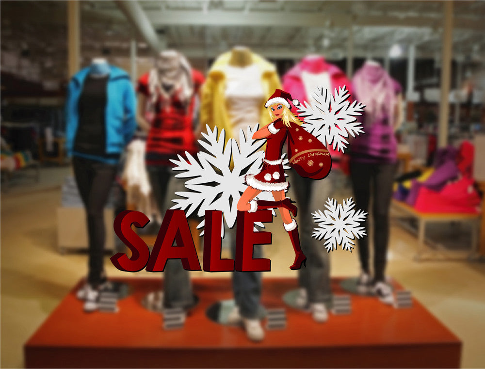 cik1176 Full Color Wall decal Christmas sale girl storefront window shop