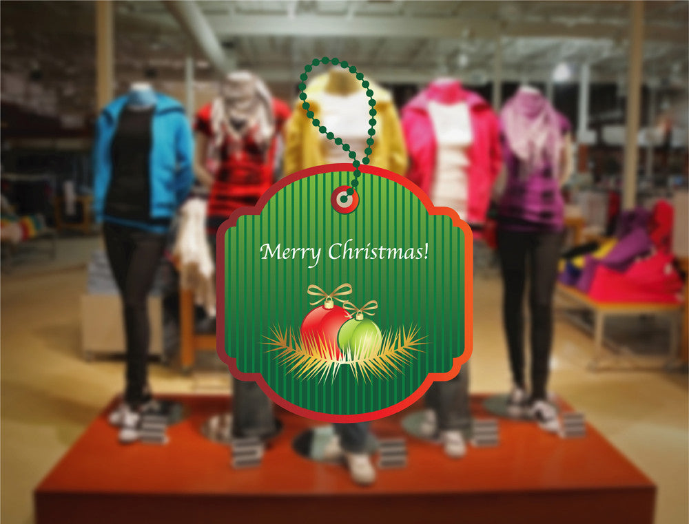 cik1177 Full Color Wall decal Label Merry Christmas wishes storefront window shop