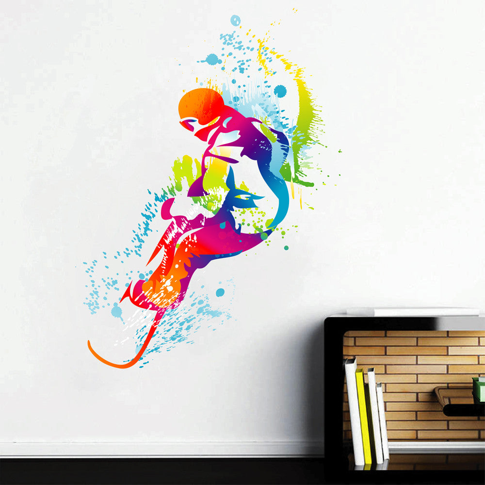 cik117 Full Color Wall decal snowboarding snowboarder snow sport spray paint room Bedroom