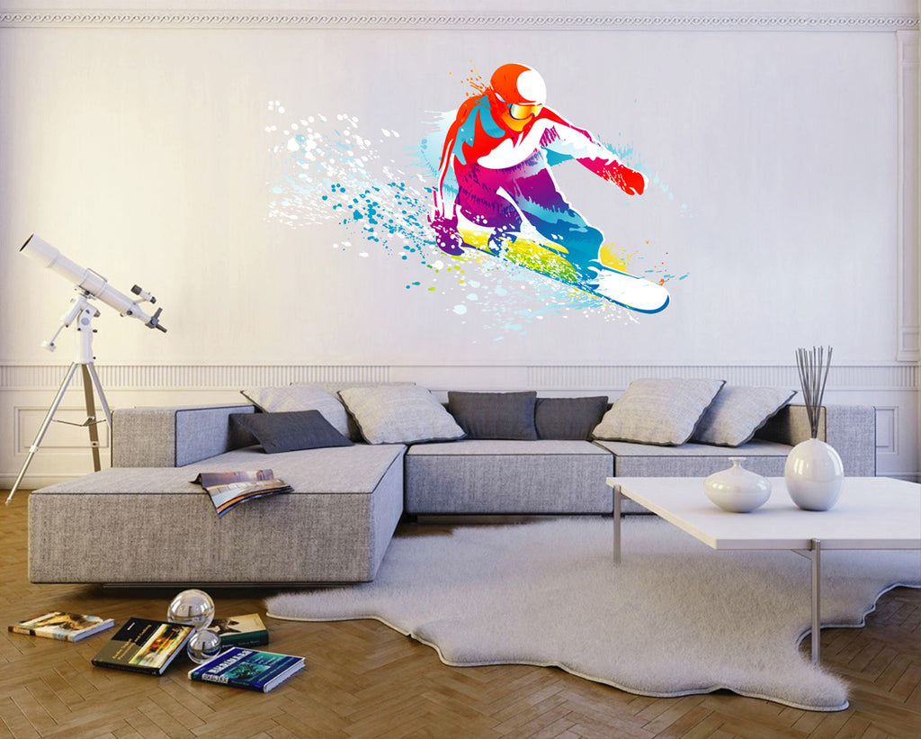 cik118 Full Color Wall decal snowboarding snowboarder snow sport spray paint room Bedroom