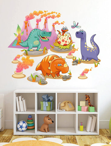 cik11 Full Color Wall decal children baby dinosaurs Volcanoes animals children's room