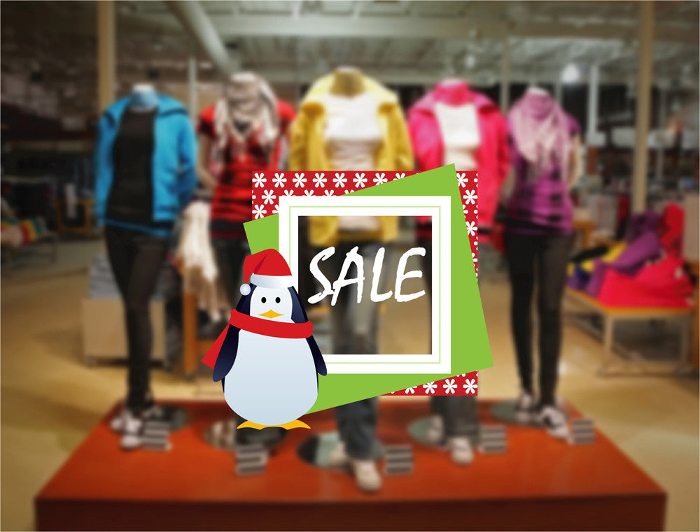 cik1213 Full Color Wall decal Penguin Christmas sale storefront shop window
