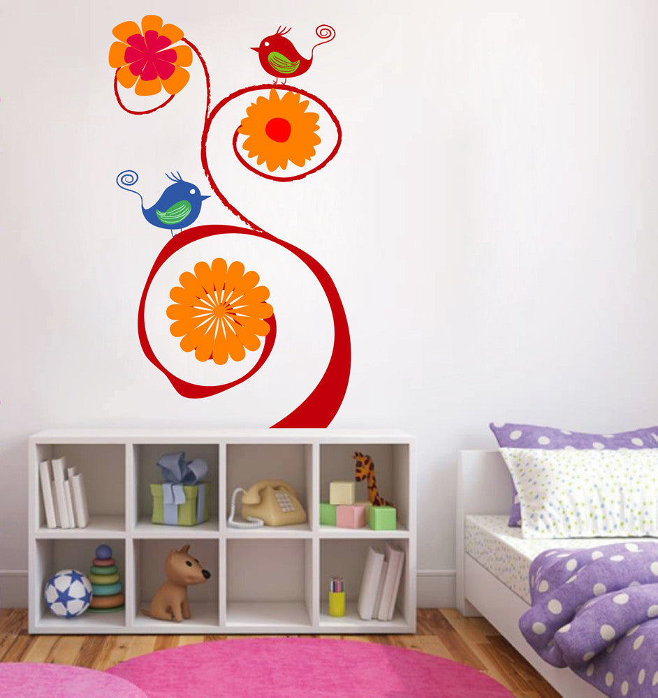 cik124 Full Color Wall decal tree bird flower living room children's bedroom