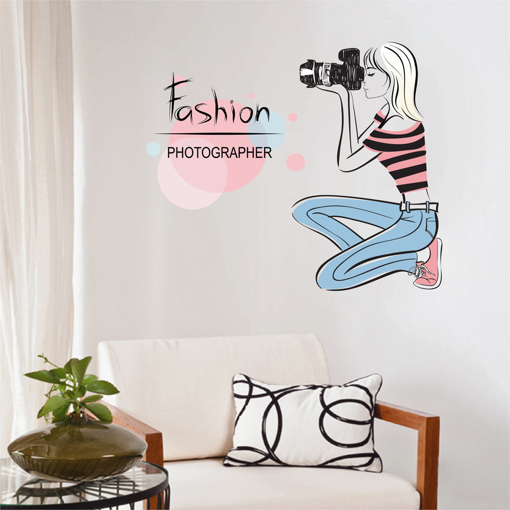 cik1251 Full Color Wall decal Fashion camera girl studio Photo Workshops