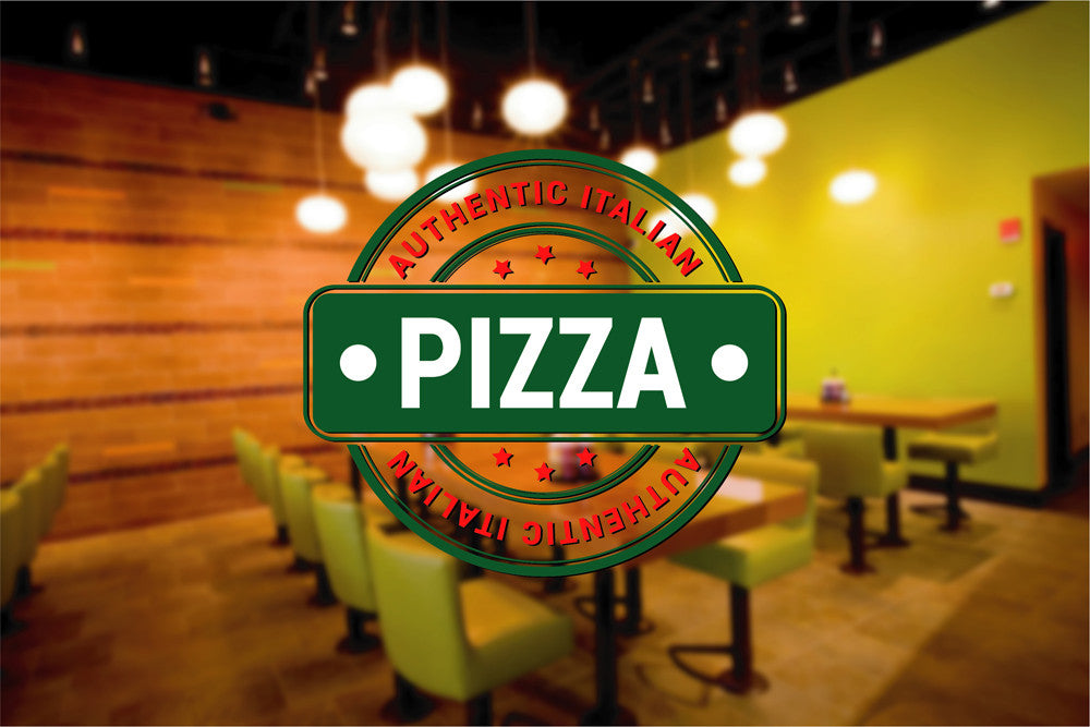 cik1257 Full Color Wall decal authentic Italian pizza pizzeria restaurant stained glass