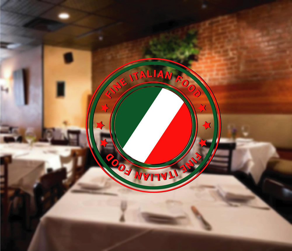 cik1258 Full Color Wall decal excellent Italian food restaurant Pizzeria stained glass